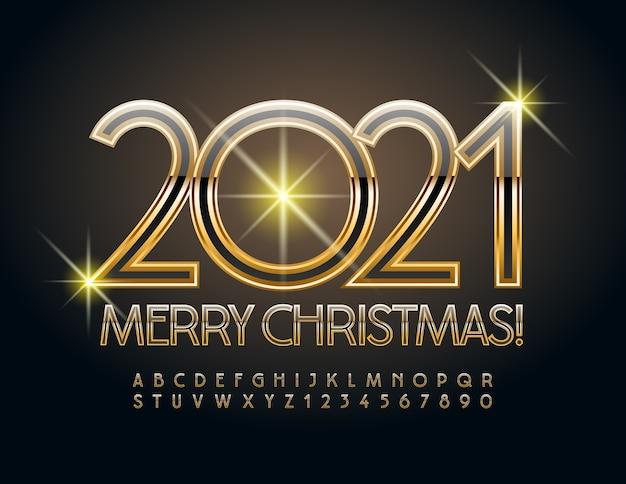 Feliz natal 2021. fonte preta e dourada. letras e números do alfabeto de elite