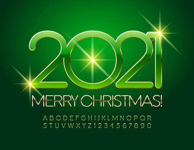 Feliz natal 2021. fonte verde e dourada. letras e números elegantes do alfabeto