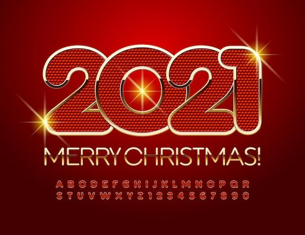 Feliz natal 2021. fonte vermelha e dourada. conjunto de letras e números do alfabeto