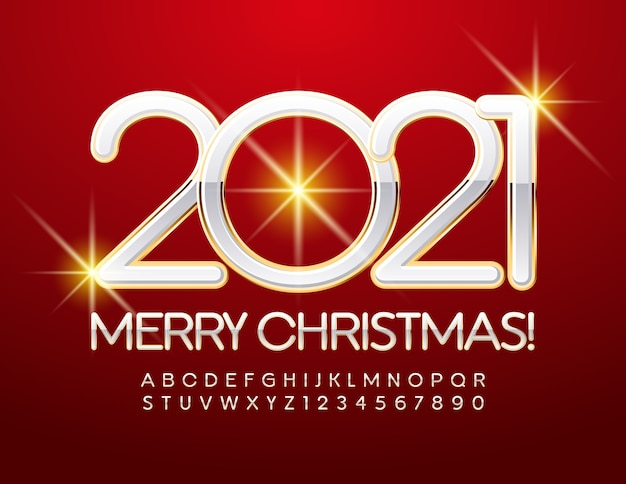 Feliz natal 2021. letras e números do alfabeto branco e dourado. fonte chic