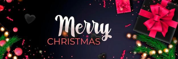 Feliz natal 2022 banner cartaz de celebração do feriado de natal fundo escuro com decoração festiva