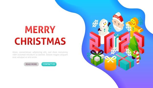 Feliz natal 2022 banner concept. ilustração em vetor de isometria de férias de inverno.