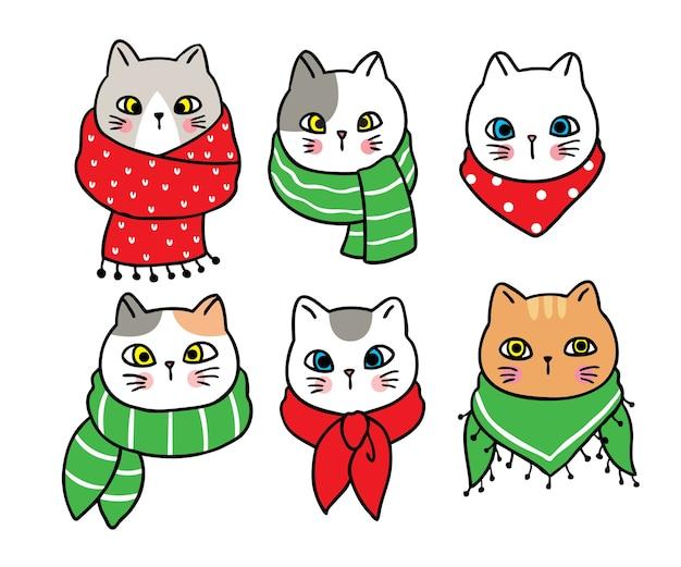 Feliz natal à mão desenhar desenhos animados bonitos gatos e lenço colorido