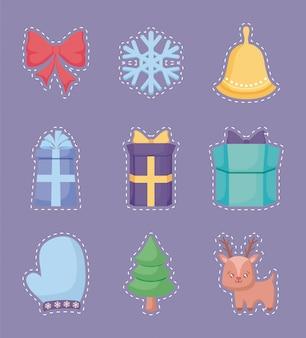 Feliz natal adesivo conjunto