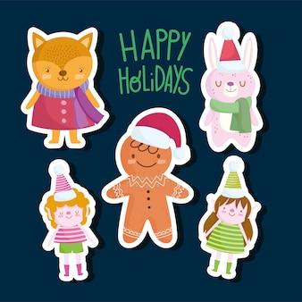 Feliz natal, adorável ajudante de raposa e ilustração de ícones de desenhos animados adesivos de coelho