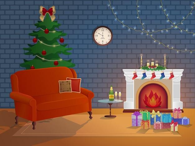 Feliz natal ano novo interior da sala com lareira, árvore de natal, sofá, caixas, velas, meias