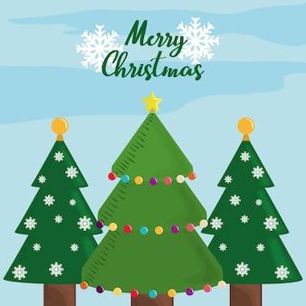 Feliz natal árvores estrelas bolas e flocos de neve cartão