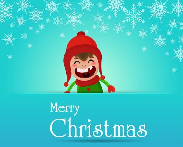 Feliz natal. as crianças brincam na neve durante a época de natal.