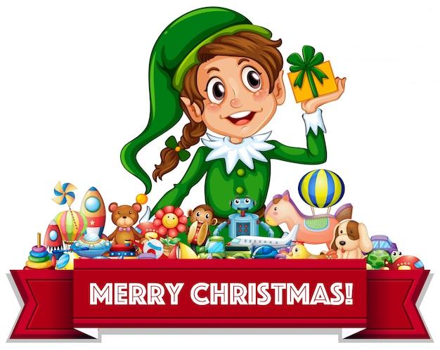 Feliz natal assinar com elf e brinquedos