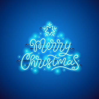 Feliz natal azul sinal de néon