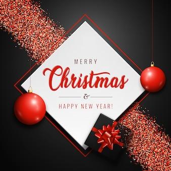 Feliz natal banner com bolas vermelhas, presente realista e glitter brilha em fundo escuro.