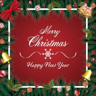 Feliz natal banner com enfeite de natal, ramos de pinheiro verde sobre fundo vermelho