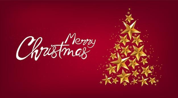 Feliz natal banner com estrelas douradas pinheiro