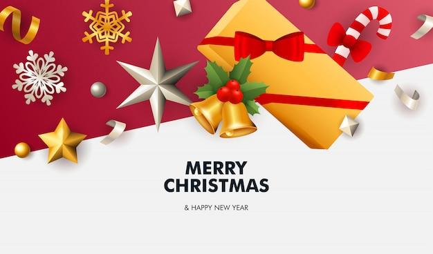 Feliz natal banner com estrelas no chão branco e vermelho