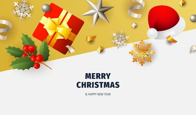 Feliz natal banner com flocos no chão branco e amarelo