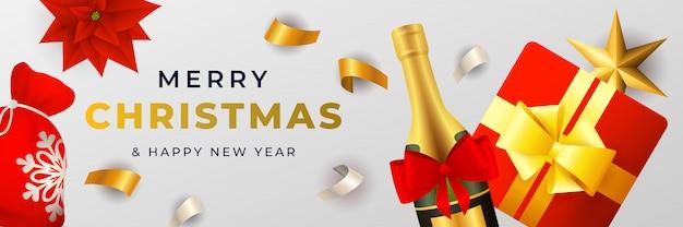 Feliz natal banner design com champanhe e caixa de presente