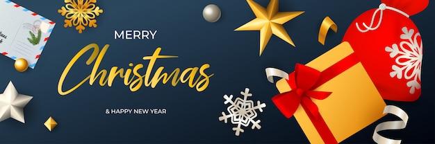 Feliz natal banner design com saco de papai noel e caixa de presente