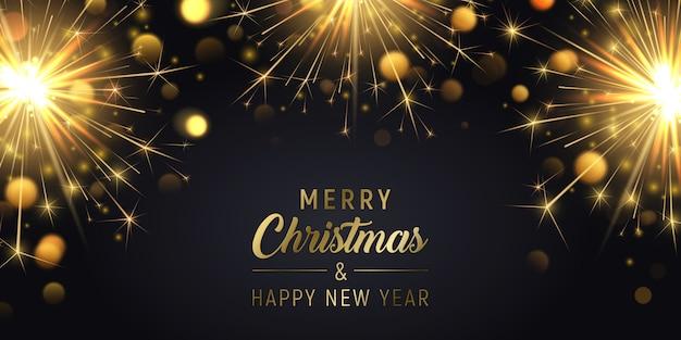 Feliz natal banner fundo com estrelinhas