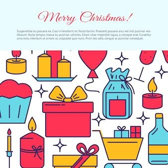 Feliz natal banner no estilo de linha
