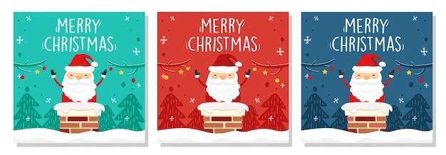 Feliz natal banner quadrado papai noel na chaminé