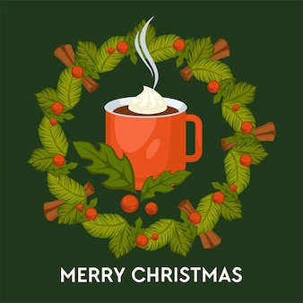 Feliz natal, bebida quente com canela em caneca cartão