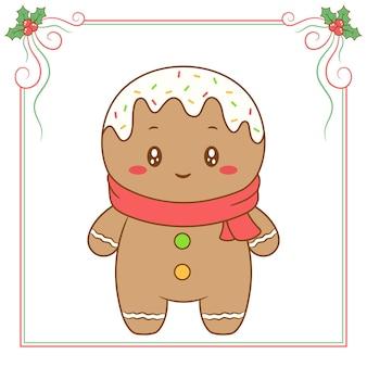 Feliz natal, biscoito de gengibre fofo com lenço vermelho e moldura de frutas vermelhas