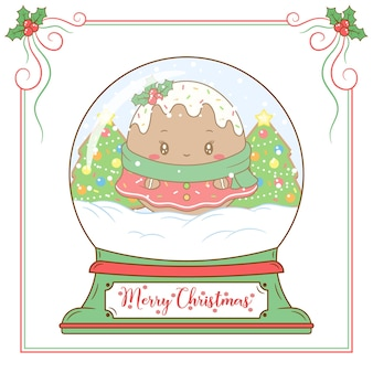 Feliz natal, biscoito de gengibre fofo desenhando um cartão de globo de neve