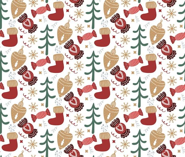 Feliz natal boho padrão sem emenda. feriado de inverno boêmio, repetindo o estilo de desenho de mão de textura. pão de mel, flocos de neve, árvore de natal. ilustração vetorial.