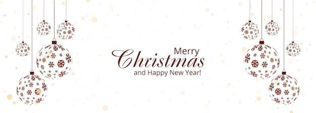 Feliz natal bola e feliz ano novo modelo de banner