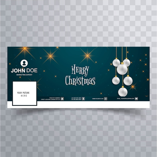 Feliz natal bola facebook banner modelo fundo
