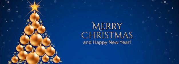 Feliz natal bolas decorativas árvore banner azul