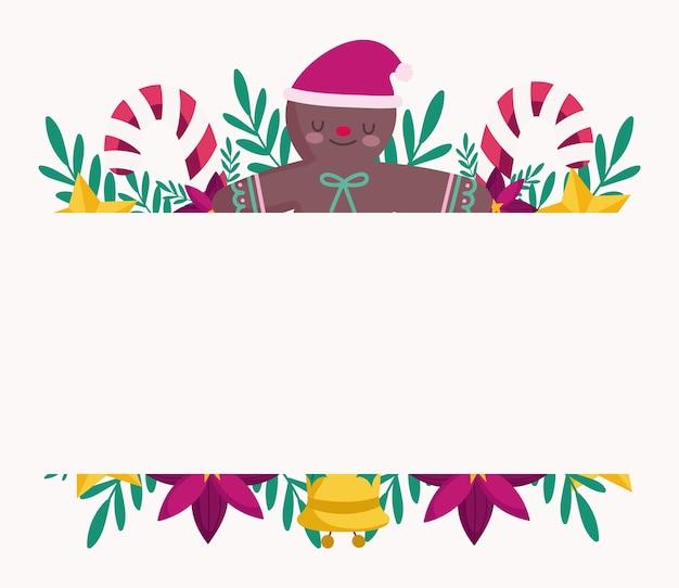 Feliz natal, boneco de gengibre, moldura de flores de bastões de doces