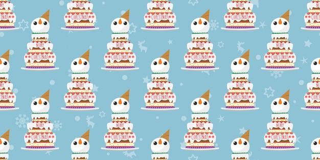 Feliz natal, boneco de neve bolos padrão sem emenda.