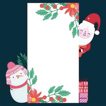 Feliz natal, boneco de neve bonito do papai noel com modelo de cartão de decoração de bagas de azevinho