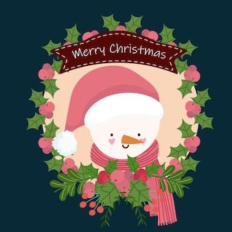 Feliz natal, boneco de neve fofo com desenho de fita de baga de guirlanda