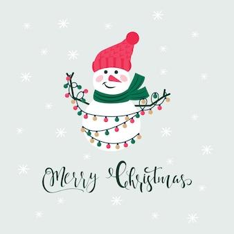 Feliz natal bonito cartão com boneco de neve e flocos de neve para presentes de feliz ano novo. estilo escandinavo de pôsteres para convite, quarto de criança, decoração de berçário, design de interiores
