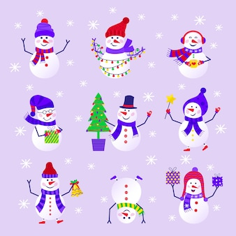 Feliz natal bonito cartão com boneco de neve e flocos de neve para presentes de feliz ano novo. estilo escandinavo definido para convite, quarto de crianças, decoração de berçário, design de interiores, adesivos