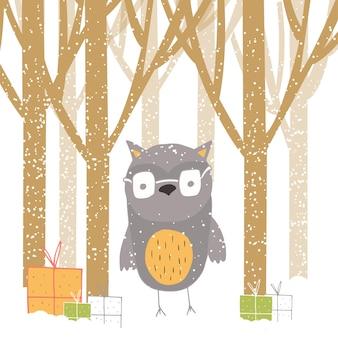 Feliz natal bonito cartão com coruja, floresta e presentes. mão desenhada estilo de cartazes para convite, sala de crianças, decoração de berçário, design de interiores.