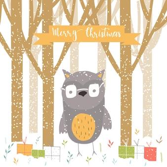 Feliz natal bonito cartão com letras, coruja, floresta e presentes. mão desenhada estilo de cartazes para convite, sala de crianças, decoração de berçário, design de interiores.