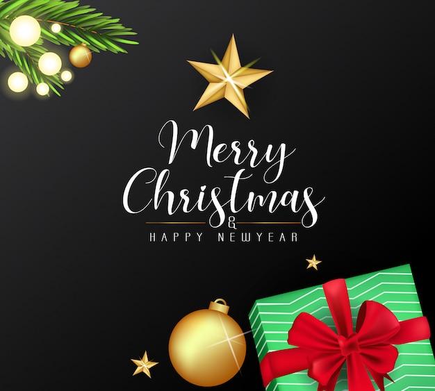 Feliz natal bonito e ano novo cartão