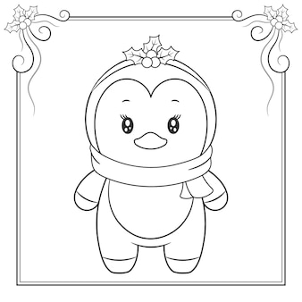 Feliz natal bonito pinguim desenhando esboço para colorir