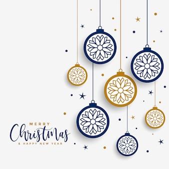 Feliz natal branco cartão com bolas decorativas