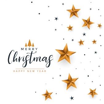 Feliz natal branco saudação com estrelas douradas