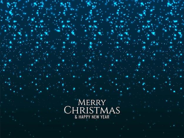 Feliz natal brilhante azul brilha fundo