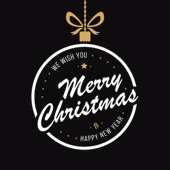 Feliz natal bugiganga cumprimentos fundo preto