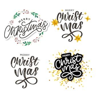 Feliz natal caligrafia texto preto. elementos de design de mão desenhada.