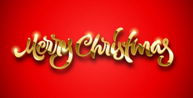 Feliz natal caligráfico mão desenhada letras douradas com volume e brilhos brilhantes sobre fundo vermelho
