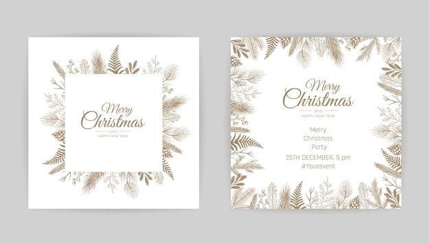 Feliz natal cartão abstrato com moldura. venda de natal, banner de férias na web.