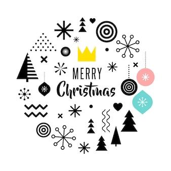 Feliz natal, cartão abstrato geométrico