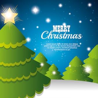 Feliz natal cartão árvore e floco de neve